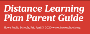 Distance Learning Starts Monday, April 6, 2020