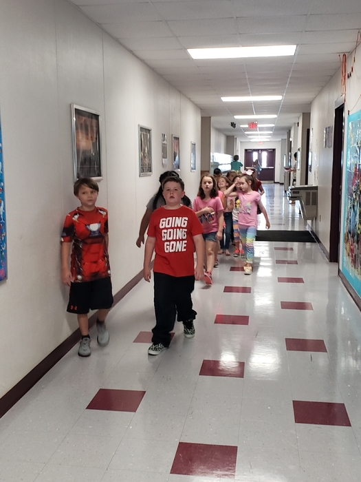 Second grade headed to class.