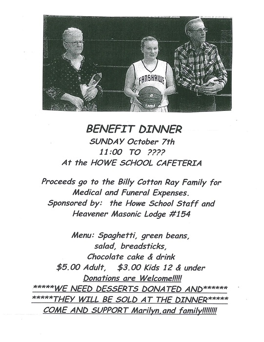 Cotton Ray Benefit Dinner Flyer