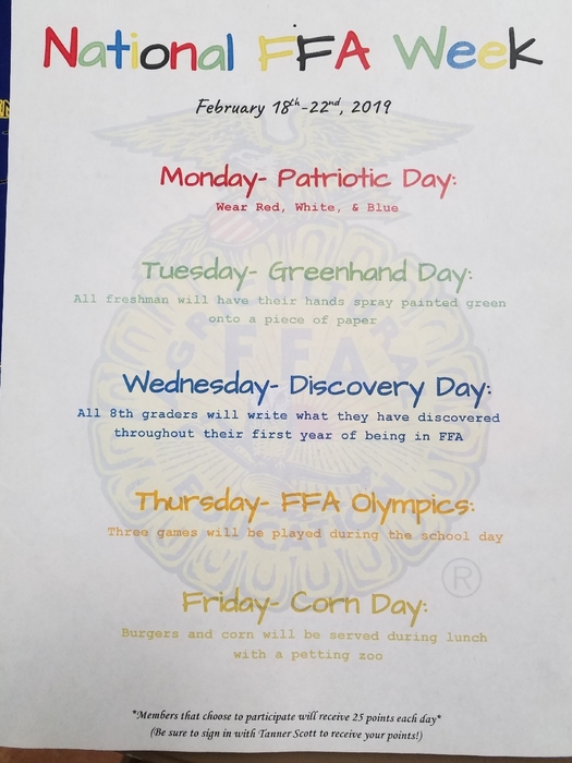 National FFA Week!! events going on at Howe this week to observe FFA Week!