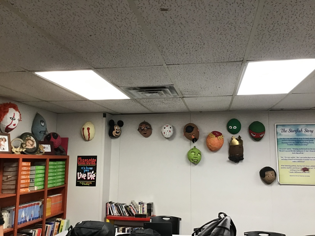 All of the masks on one wall.