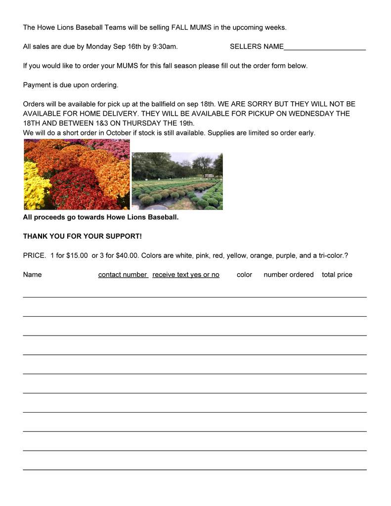 Fall Mum Order Form