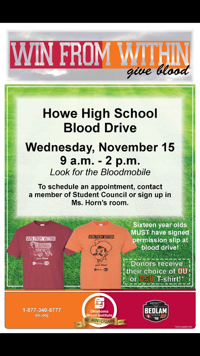 HHS STUCO Blood Drive Flyer