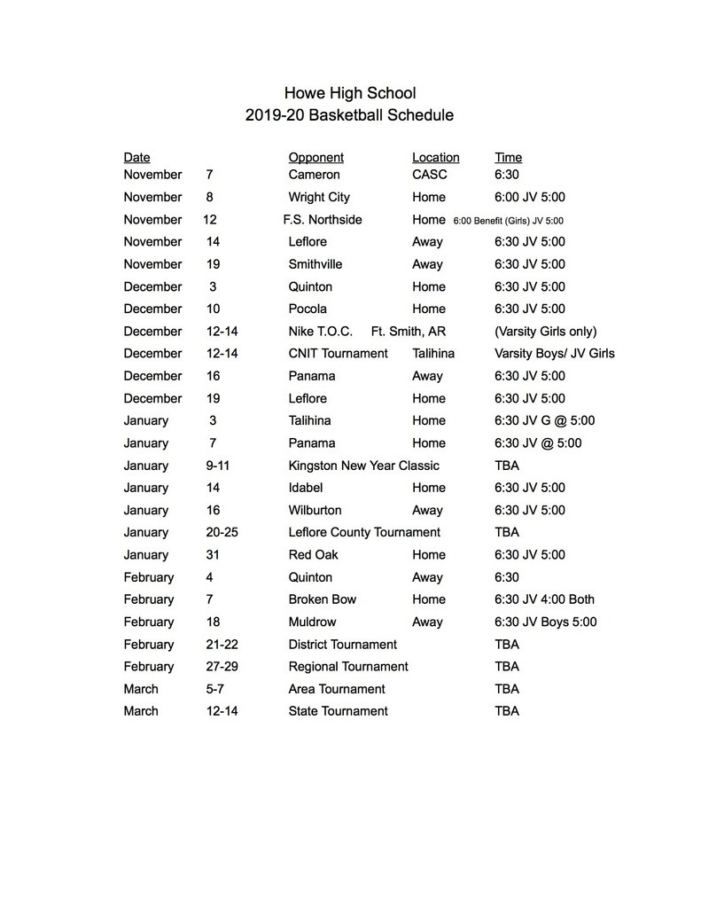 Basketball Schedule HS