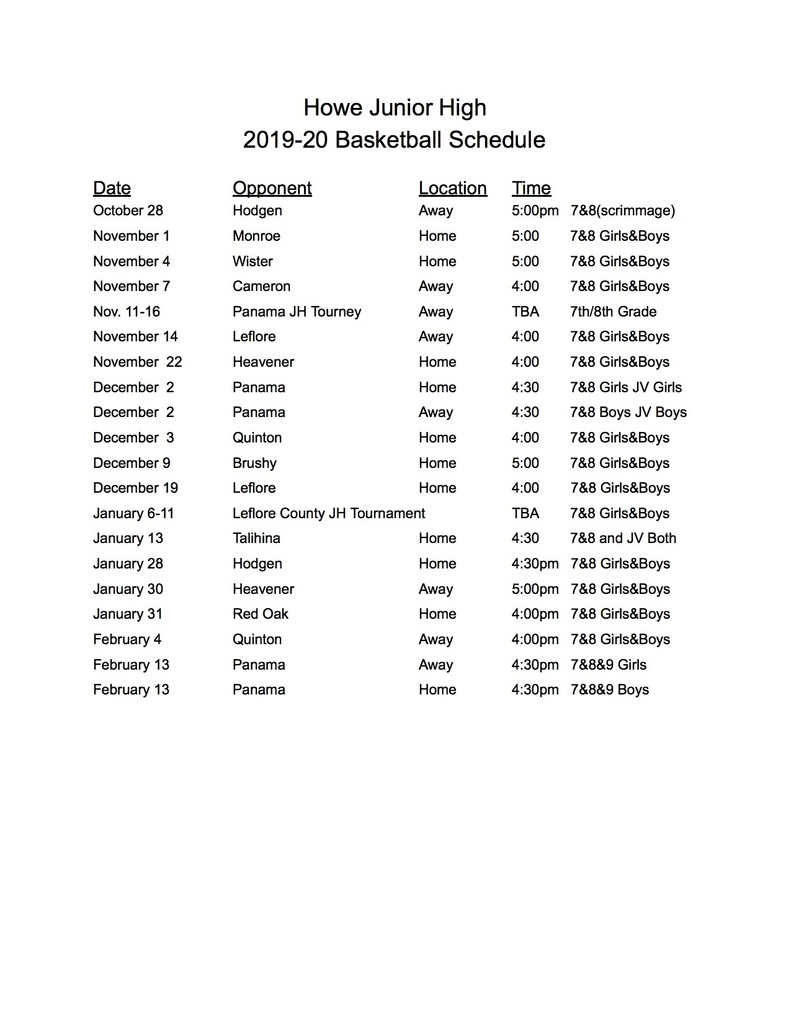 Junior High Basket Ball Schedule