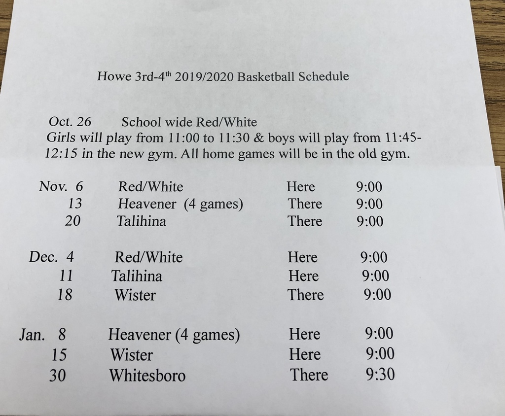 3rd-4th Basketball Schedule