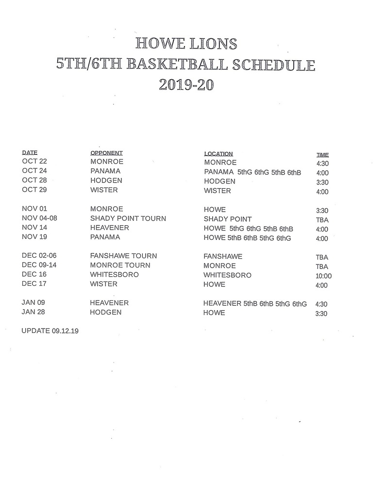 5th-6th Basketball Schedule