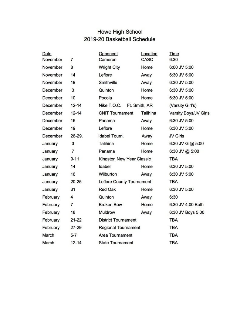 Updated High School Basketball Schedule