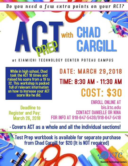 upcoming ACT Prep workshop with Chad Cargill at the Poteau KTC Campus.