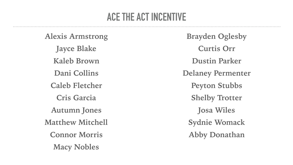 ACE The ACT Incentive